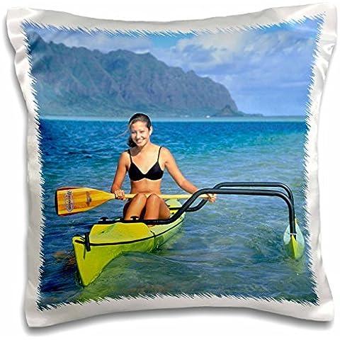 Boats - Outrigger boat Kaneohe Bay Kaneohe Oahu Hawaii - 16x16 inch Pillow (Hawaii Outrigger)