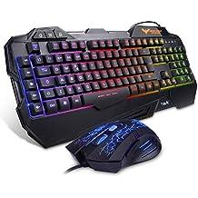 Gaming Keyboard {IT Layout}, HAVIT Rainbow LED Backlit Wired Keyboard and Mouse Combo Set, Black