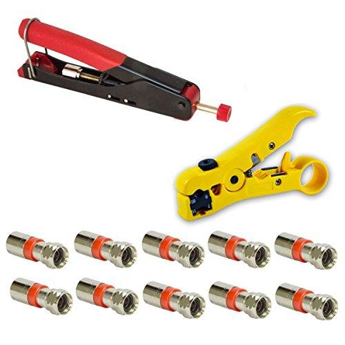 Kompressions-stecker F-typ-stecker (Kompressionszange mit wasserdichter Steck-Klemmtechnik Crimpzange Zange + Universal Abisolierwerkzeug Abisolierer + 10x XCon S2 F-Kompressionstecker für 7 - 7,5mm SAT Kabel Koaxialkabel koax Kabel)