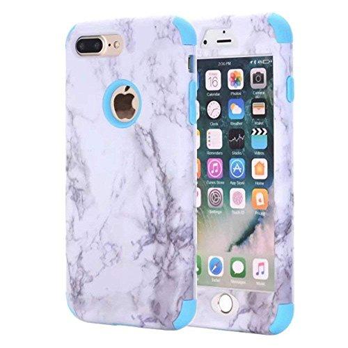 iPhone 7Plus Fall, nokea [Marmor Muster] Drei Schicht Hybrid Heavy Duty stoßfest Schutz Bumper Cover Silikon Combo Hart PC Case Weich Für iPhone 8Plus/7Plus, Blau ()