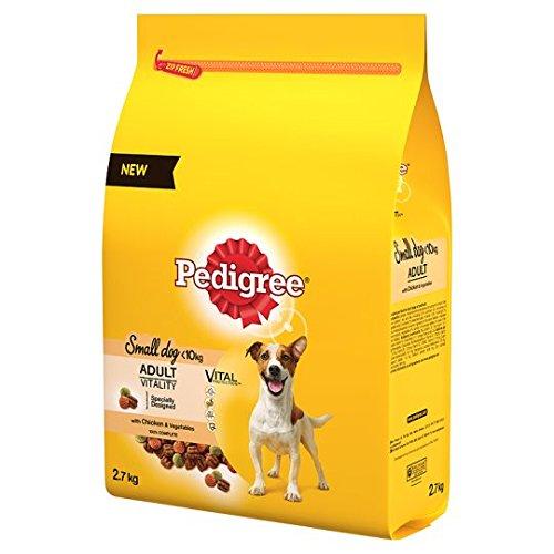 Pedigree Pequeño Comida para perros COMPLETO Seco Con Pollo y Verduras, 2.7kg, paquete de 3