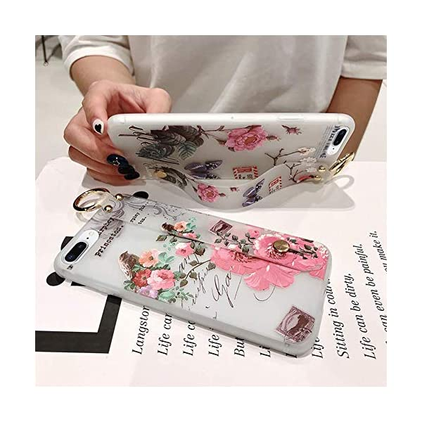 Uposao Compatible with iPhone 8 Plus/iPhone 7 Plus 5.5 Case with Hand Strap, Cute Pink Flowers Pattern Design Soft Silicone TPU Gel Flexible Cover with Wrist Strap Wristband Kickstand,Flower #7 Uposao Compatible Model: iPhone 8 Plus / iPhone 7 Plus 5.5 Package:1 x Bumper Case Cover,1 x Black Stylus Touch Pen Kickstand Feature: Comes with slidable elastic strap for your ring finger or wrist for comfortable grip and a built-in kickstand for optimum hands-free viewing. 2