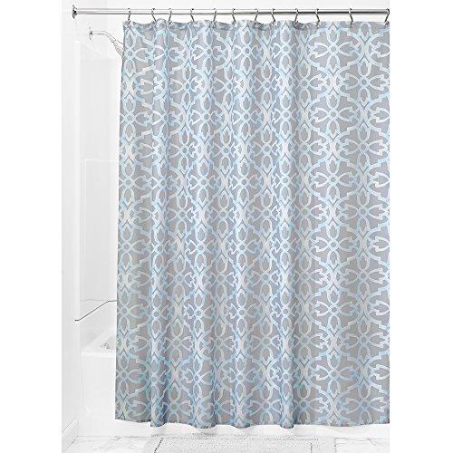 InterDesign Adele Cortina de baño   Cortina de ducha con ojales, lavable a máquina, 183 cm x 183 cm   Cortinas estampadas con dibujo geométrico   Poliéster gris/azul
