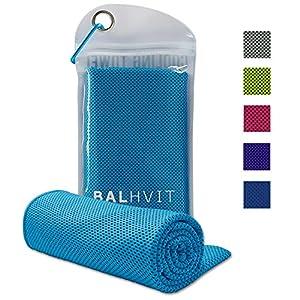 Balhvit® Kühlung Handtuch, 100x30cm Microfaser Handtuch, Schweißsaugfähig Kühlendes Kaltes Eishandtuch, Sofort Eis Kalt Mikrofaser Handtücher für Fitness Reise Yoga Golf Schwimm Camping Wandern (Blau)