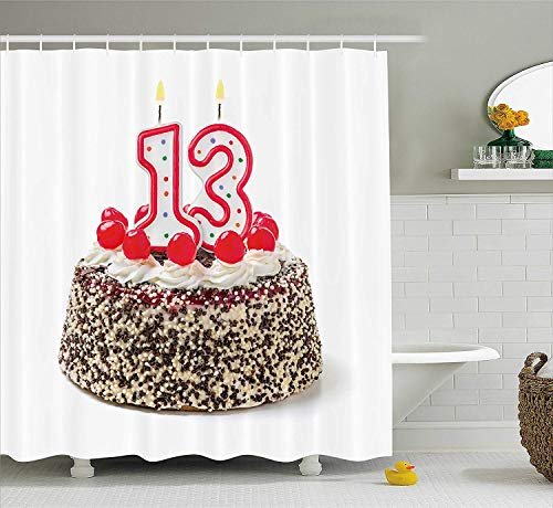 VVIANS 13th Birthday Decorations Shower Curtain, Cake with Numeral Candles and Cherries Yummy Desert for Party, Fabric Bathroom Decor Set with Hooks, 60 * 72 Inch, Multicolor