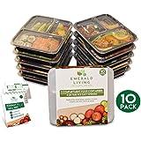  10 pack  3 fach Meal Prep Container. Frischhaltedosen Bento-Box Set mit Deckel. Spülmaschine, Mikrowelle, Gefrierschrank safe. BPA-frei Frishchalteboxen aus Kunststoff mit Trennwände [1L]