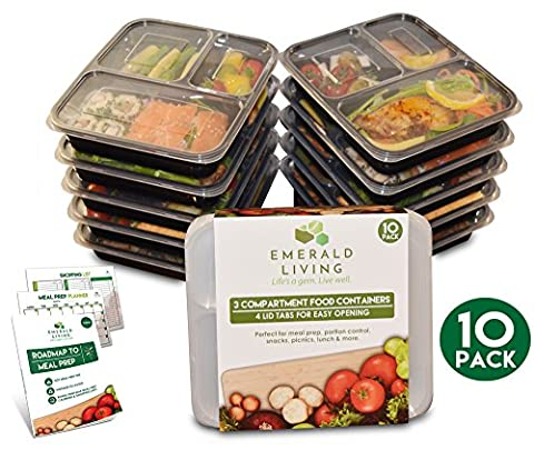 *SUPER SALE* [10 pack] 3 Compartment BPA Free Meal Prep Containers. Reusable Plastic Food Containers with Lids. Stackable, Microwavable, Freezer & Dishwasher Safe Bento Lunch Box Set + EBook