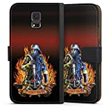 DeinDesign Samsung Galaxy S5 Tasche Leder Flip Case Hülle Feuerwehrmann Feuerwehr Firefighter