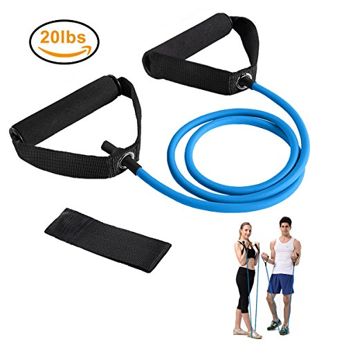 Resistance Bands, Exercise Bands with Handles, Home & Gym Strength Training Tubes, Resistance Loop Bands for Men/Women, Workout Bands for Shoulder, Arm and Leg, Fitness Strength Training Equipment for Improving Mobility 20 lbs (Blue)