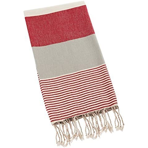 Swan Comfort 100% Organic Turkish Cotton Absorbent Beach Towel, Easy Care ideal for Bath Spa Fitness Yoga Pool Yatch Swimwear Guest Gym - Red - Gray by