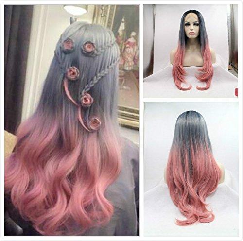 Nouveau Mode Fumé Gris/rose Ombre naturelle droite Perruques synthétiques Lace Front Perruque résistant à la chaleur Fibre Cheveux avec racines foncées