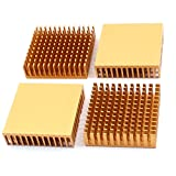 4Stk 40x40x11mm Aluminium Kühlkörper Kühler Radiator Kühlung Fin Gold Ton