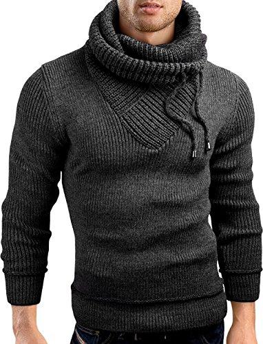 Grin&Bear Slim fit Schalkragen Pullover Grobstrick Strickjacke Herren, anthrazit, XL, GEC555