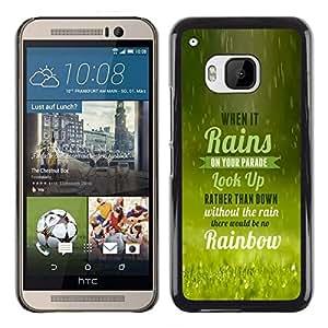 NICE GIFT GOOD PRESENT // Telefon-Kasten Hart Schutzhülle Tasche Hülle HandyHülle New Design Hard Protective Case for HTC One M9 / Regen bringt Regenbogen /