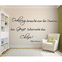 Das Genie beherrscht das Chaos Spruch Albert Einstein als Wandtattoo für Ihr Wohnzimmer in 21 Farbe (siehe Fabtabelle Bilder) (90cm x 47cm)
