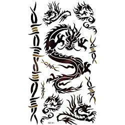 King Horse Waterproof and sweat of the black dragon and Figure vine temporary tattoos (tatuajes temporales)