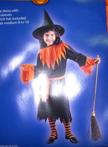 witch-black-orange-child-dress-costume-m-8-10-nwt