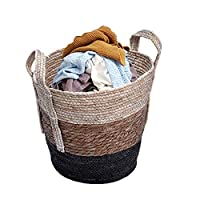 YATAI Decorative Woven Cotton Rope Basket with Handle, Hamper Baby & Dog Toy Storage Baskets & Bin Storage, Blanket Basket, Laundry Basket (Small)
