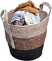 YATAI Decorative Woven Cotton Rope Basket with Handle, Hamper Baby & Dog Toy Storage Baskets & Bin Sto