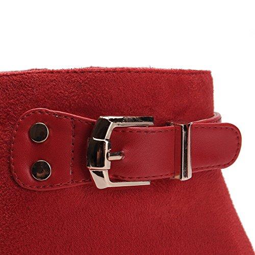 VogueZone009 Damen Reißverschluss Rund Zehe Hoher Absatz Pu Leder Niedrig-Spitze Stiefel Rot