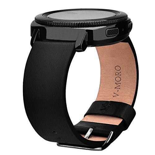 V-MORO For Samsung Gear Sport Straps, 20mm Soft Genuine Leather Replacement Smart Watch Band Bracelet For Samsung SM-R600 Gear Sport Fitness Watch (Black)