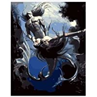 dorara DIY pintura al óleo pintura por número mano Paintworks 16× 20cm, diseño de sirena