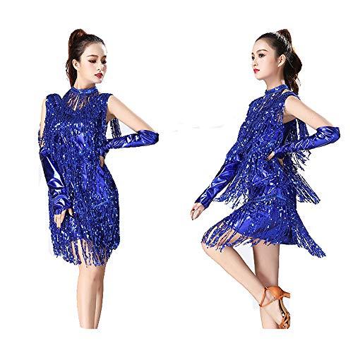 CPH20 Metallic Pailletten Quasten Ballsaal Samba Tango Latin Dance Kleid mit Hand Ärmeln Halskette Kostüme Tanzfee, Tanzleben. (Farbe : Blau, Größe : - Blue Star Princess Kostüm