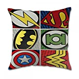 Lz Pillow Taie d'oreiller carré en coton à motif de DC Comics VS Marvel, Coton, 16x16 inch twin side, 40,6 x 40,6 cm