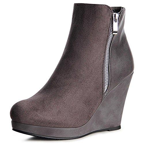 topschuhe24 962 Damen Plateau Keil Stiefeletten Ankle Boots Grau