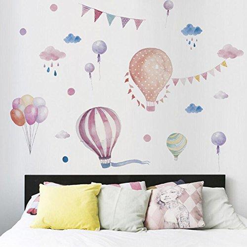Fei fei nuovi adesivi murali adesivi murali a mongolfiera colorati adesivi murali stile ragazza adesivi decorativi adesivi murali camera da letto adesivi murali in pvc (62x88cm)