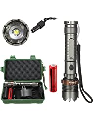Rawdah 8000Lm T6 LED 7 Modes Flashlight Torch Zoomable Tactical + 18650 Chargeur Box Flashlight