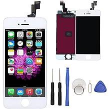 Exw Per iPhone 5s Bianco Schermo Parti di ricambio Display LCD Touch Screen lente in vetro kit di trasformazione + utensili inclusi, Bianca (4 pollici)