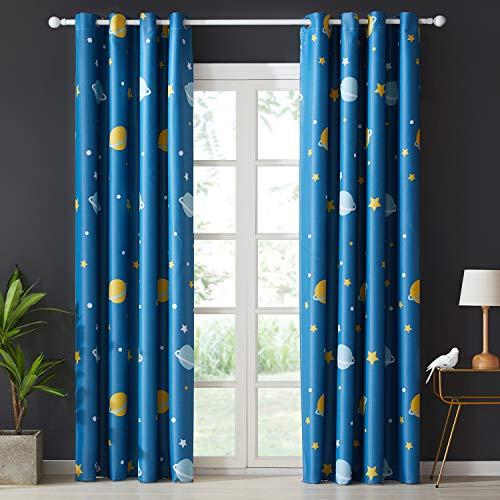Topfinel Blickdichte Vorhänge mit Ösen Planet Mustern Kurze Verdunkelungsvorhänge für Kinderzimmer Wohnzimmer Fenster 2er Set je 160x140cm (HxB) Blau