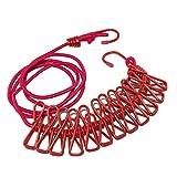 Vicloon Corde à Linge,Portable Elastique Ajustable Rétractable Corde à Linge avec 12 Pièces Clips Cintres pour Usage Extérieur et Intérieur