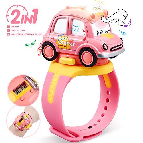 Peradix 2 in 1 Auto Giocattoli e Orologio Elettronico per Bambini, con Suoni e Luci, Ideali per L'invio Come Regalo di Compleanno o di Natale per Ragazzi e Ragazze(Rosa)