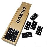 2 x Dominospiel Domino Spiel in Holzbox, ca, 15 x 5cm, je 28 Steine