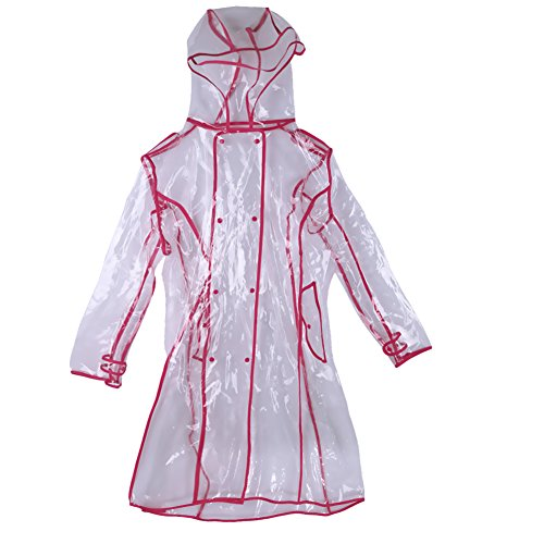 Demiawaking Womens Girls Clear Raincoat Waterproof Rain Jacket Outwear Travel Rainwear