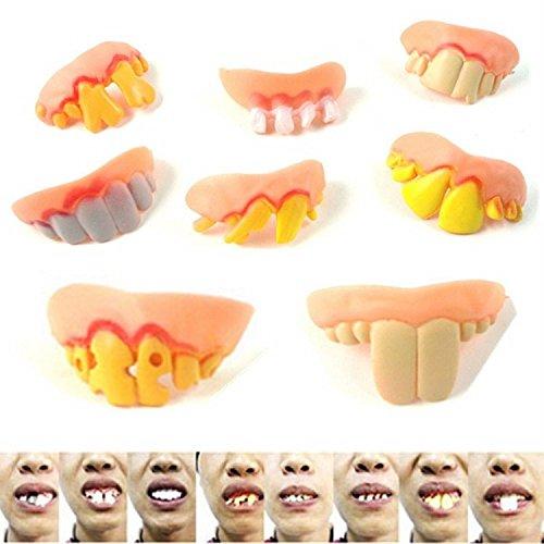 XJoel 10pcs Halloween Lustige gefälschte falsche Zähne Zahnersatz Make-up-Kostüm-Maskerade-Kleid-Partei