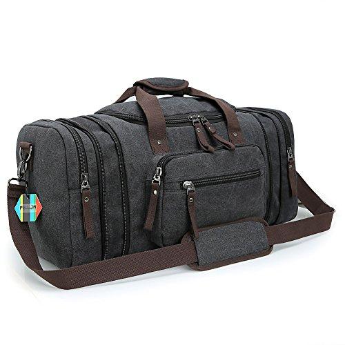 Pellor Männer und Frauen Canvas Reisetasche Segeltuch Sporttasche Duffle Umhängetasche Messenger Taschen Handgepäck Rucksack Mit Großes Kapazität (Schwarz)