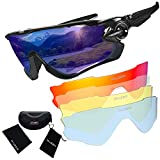 RUZER© Official Cycling WRAP Driving Sports POLARISED lens Sunglasses, 5 Interchangeable lens, TR100