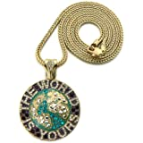THE WORLD IS YOURS Globe Pendant in Gold Tone w/ 91.44cm Franco Chain GAP19G