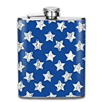 Bikofhd 7OZ Stainless Steel Flask, Cool Stars On Blue Pattern Hip Flask, Flasks for Mens and Womens