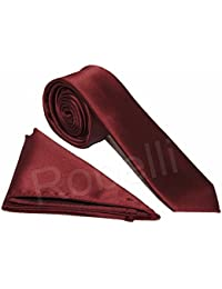 """Men's Satin 2"""" Slim Tie and Pocket Handkerchief Set – Available in a Variety of Colours"""