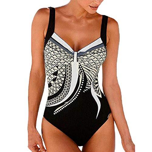 iYmitz Badeanzug Damen Sommer Backless Drucken Bademode Frauen Beachwears Siamese Badeanzug Bikini Sets Bodysuits(Weiß,EU-38/CN-XL)