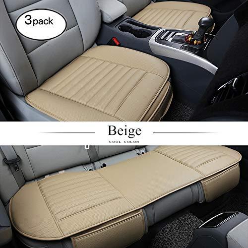 Pu-pads (HCMAX Vier Jahreszeiten Atmungsaktiv Car Interior Sitzkissen Abdeckung Pad Matte PU-Leder Bambus-Kohle - 2+1 Vorder und Rücksitzbezüge)