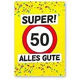 DankeDir! 50 Alles Gute - Kunststoff Schild (Gelb), Geschenk 50. Geburtstag, Geschenkidee Geburtstagsgeschenk Fünzigsten, Geburtstagsdeko/Partydeko / Party Zubehör/Geburtstagskarte