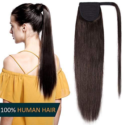 Coda capelli veri extension clip in coda di cavallo fascia unica 40cm ponytail 80g 100% remy human hair lisci umani naturali #2 castano scuro