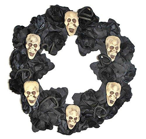 artikel Hirschfeld Rosenkranz Black Roses mit Totenköpfen - Gruselige Halloween Dekoration Hängedekoration Tischdekoration ()
