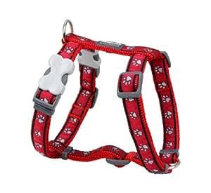 Red Dingo Pawprints Patterned Dog Harness, M, 18 mm/ 42 - 57 cm, 35 - 53 cm Neck Size, Red