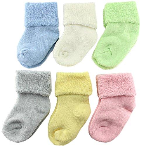 6 Pares Calcetines Bebé Unisex De Algodón Calcetines Calientes Color Puro Para Niñas